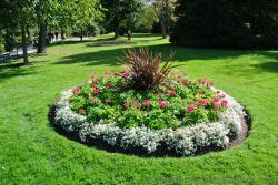Circular mini garden with white red flowers and dark grass in the middle at Halifax Public Gardens.jpg
