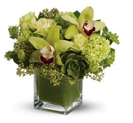 Green wedding arrangement with green flowers, white roses and green leaves pics.JPG