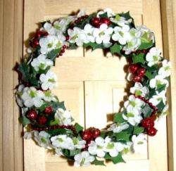 Image of Christmas Wreath With Flowers and Ornaments.JPG