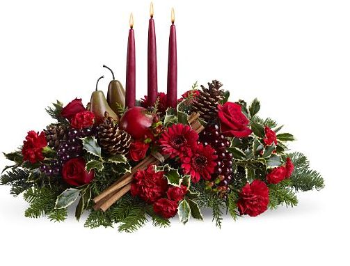 christmas floral arrangements arrangement with fruits and candle jpg 1 30492