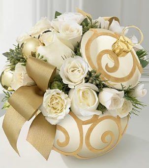 Seasons Greetings Bouquet In Gold With Whit RosesPNG