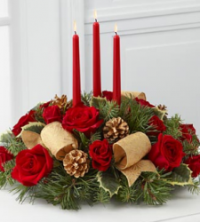 The Celebration of the Season Centerpiece with three red candles.PNG