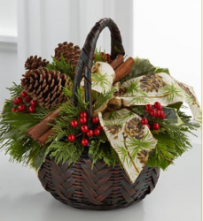 Christmas Coziness Bouquet in brown basket.PNG