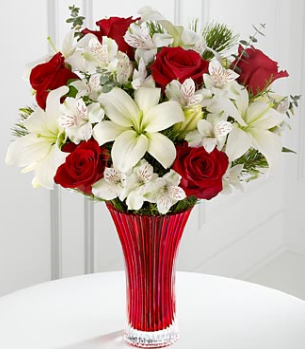 Holiday Celebrations Bouquet with red roses and white lilies.PNG