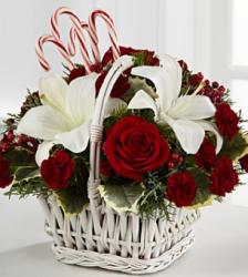 Holiday Treasures Bouquet in white basket.PNG