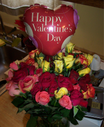 Valentine Flowers with colorful roses with heart balloon.PNG