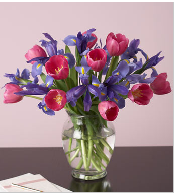 best flowers for valentines with pink tulip and blue rish bouquet.PNG