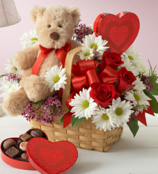 best valentine flower in basket with teddy bear and heart shape chocolate box.PNG