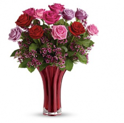 Image of flowers for valentine with red glass vase.PNG