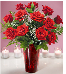 Image of valentine flowers cheap with red roses and red vase.PNG