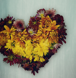 Modern flower gift valentine in dark red and yellow flowers.PNG