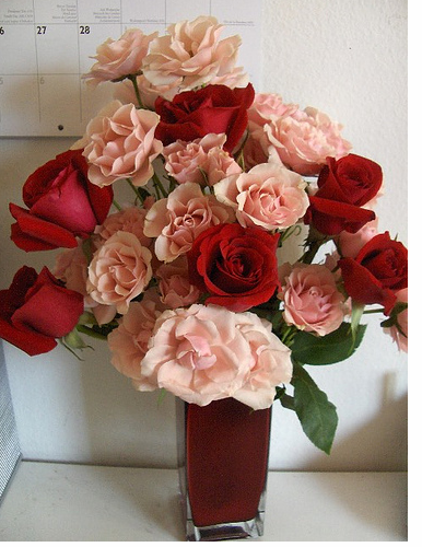 Peach and red cheap valentine flowers image.PNG