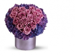 Pink and purple valentine flowers with heart shape.PNG