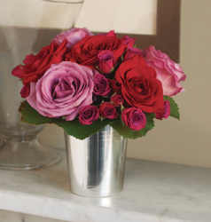 Popular valentine flower in elegant silver vase.PNG