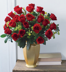 Red roses valentine flower bouquets in gold vase.PNG