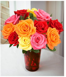 Valentine Flower Arrangement with multi roses.PNG