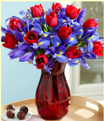 Red tulips and dark purple flowers for valentines with round chocolate.PNG
