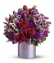 Stylish valentines day bouquet with full of purple flowers.PNG