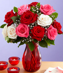 Three colors roses valentines day with red glass vase.PNG