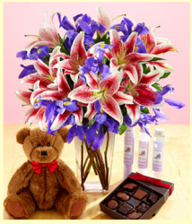 Valentine gift set with pink lilies with purple flowers comes with teddy bear and chocolate box.PNG