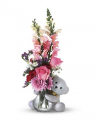 Valentine gift with flowers and white teddy bear.PNG