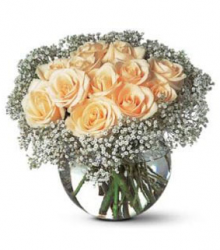 Valentines day bouquet with peach roses and small flowers in round glass vase.PNG
