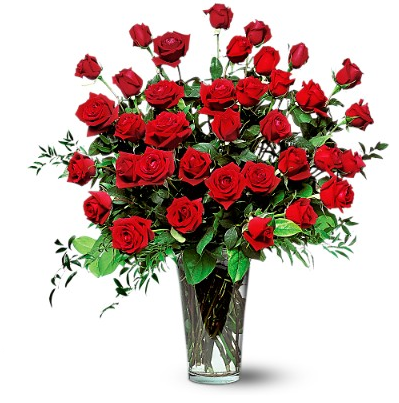 Big Valentines Day Arrangement With Red Roses In Glass Vase Png