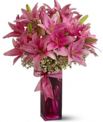 Bright pink lillies valentines day with light pink glass vase.PNG