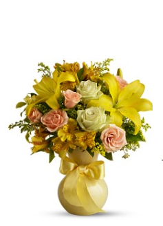Bright yellow valentine flowers with light yellow vase photo.PNG