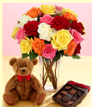 Full valentine gift set with colorful roses and teddy bear and chocolate box.PNG