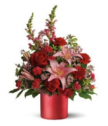 Fashion valentine bouquet with full roses and lillies.PNG