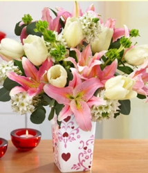 Light color flowers valentines day with light pink lilies and white tulips.PNG
