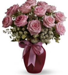 Pink bouquet for valentines day with roses and small white flowers.PNG