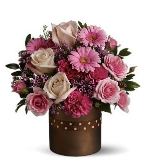 Modern valentines day arrangement with brown vase.PNG
