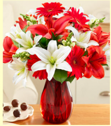 Red daisy flowers with lilies with red glass vase photo.PNG