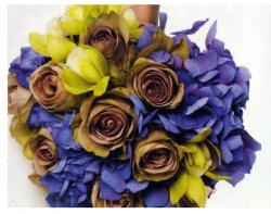 Bridal bouquet with light brown rose and purple flowers.PNG