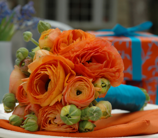 Bright Orange Wedding Bouquet With Blue Ribbons PNG Hi Res 720p HD