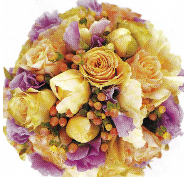 Colorful bride bouquet with yellow and purple flowers.PNG