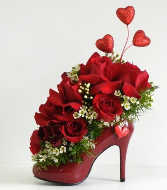 Unique Valentines Day With Red High Heel Shoe As A Vase Base Filled