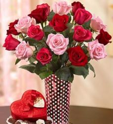 Valentines bouquet with pink and red roses with pretty vase in red and white dots.JPG
