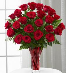 Classic red roses bouquet with full of large roses in red vase.JPG