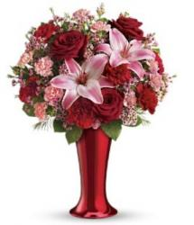 Pink and Red Roses Valentines Day Bouquet with Red Vase.JPG