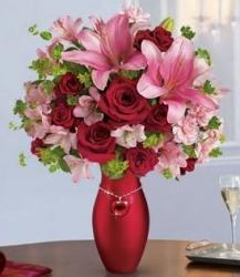 Pink and Red Valentines Bouquet in Red Vase with Heart Necklace.JPG