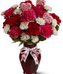 White Pink and Red Flowers Valentine Day Bouquet in  Red Vase.JPG