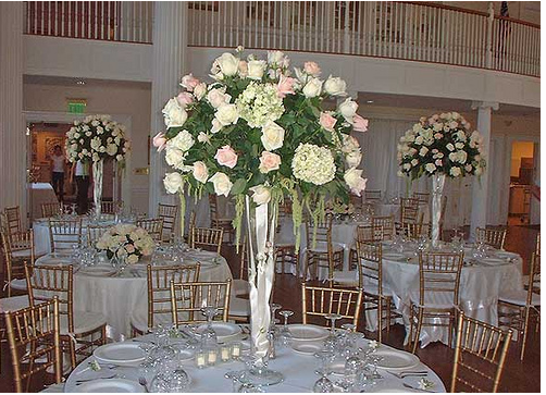 Rose wedding reception flower arrangement png for Center arrangements for weddings