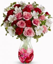 Three Colored Valentines Day Bouquet.JPG