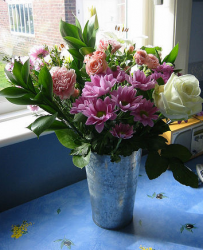 Pretty mothers day flowers in metal vase.PNG