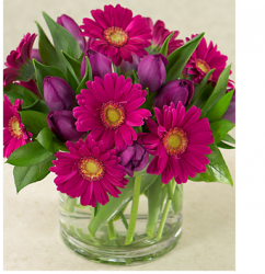 Purple and dark pink mother's day flowers in glass vase.PNG