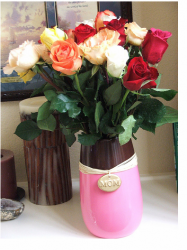 Roses mother's day flowers in elegant vase in pink and brown with mom word.PNG