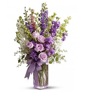 Tall mother's day flowers in square crystal vase image.PNG
